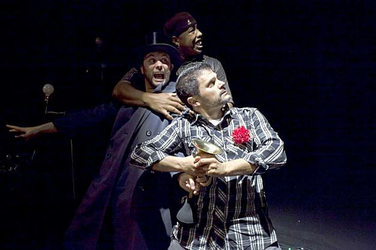 Dan Wolf (front) with Keith Pinto (left) and Tommy Shepherd in Wolf and Shepherd's