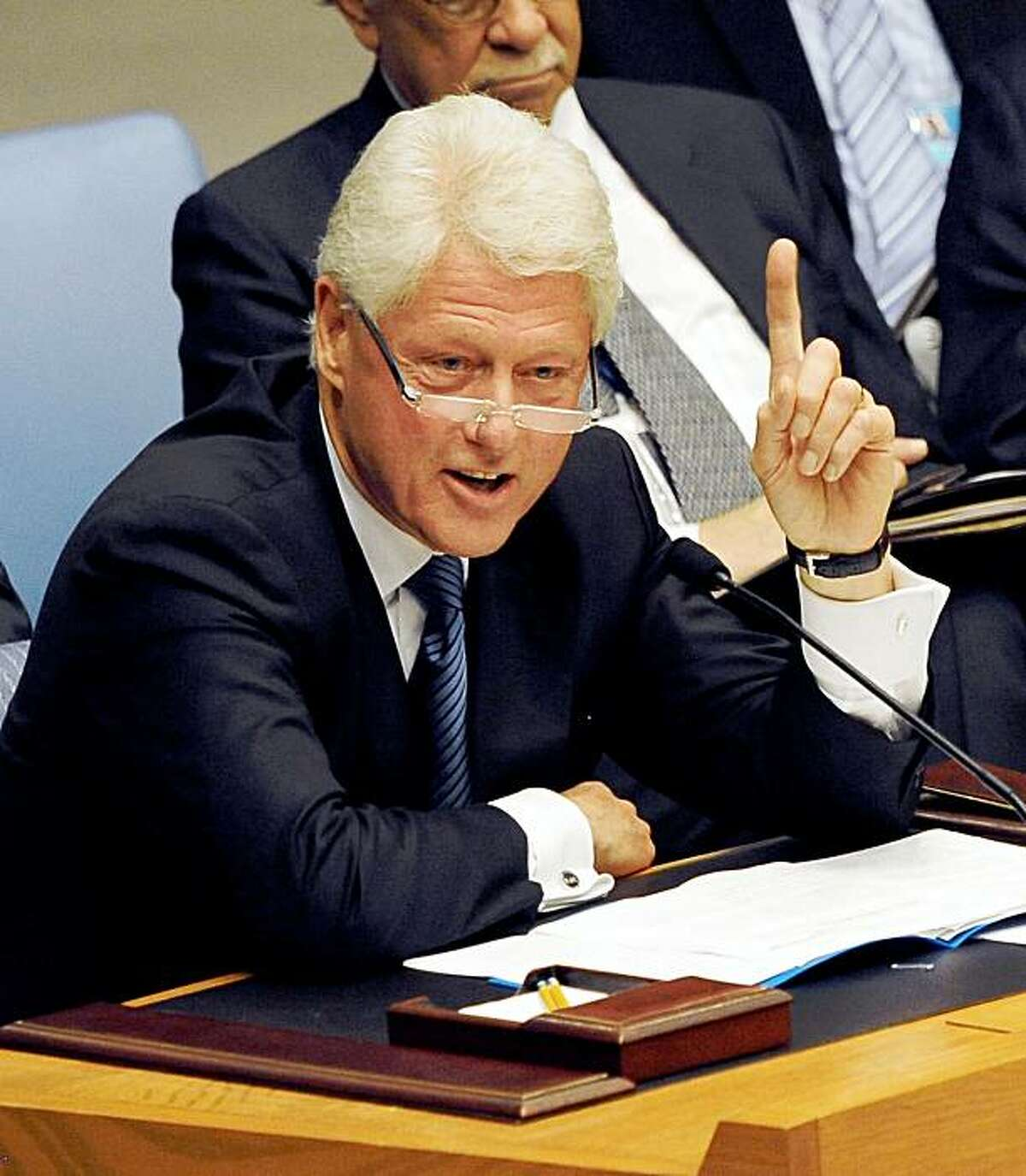 Former US President Bill Clinton, United Nations Special Envoy for Haiti, addresses the Security Council September 9, 2009 as he gives a report on the UN Stabilization Mission in Haiti at UN headquarters in New York. AFP PHOTO/Stan Honda (Photo credit should read STAN HONDA/AFP/Getty Images)