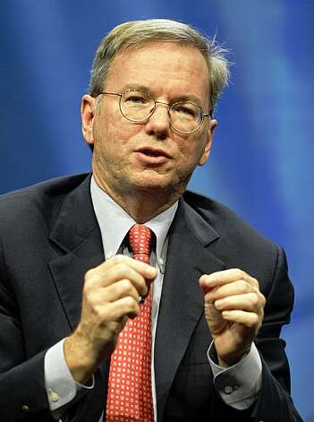 Eric Schmidt, Chairman of the Board and CEO of Google speaks at the Gartner Symposium ITxpo in Lake Buena Vista, Fla., Wednesday, Oct. 21, 2009. The head of Google says a Web where Chinese is the dominant language, and connections are so fast that distinctions between audio, video and text are blurred is perhaps just five years away. (AP Photo/John Raoux) Photo: John Raoux, AP