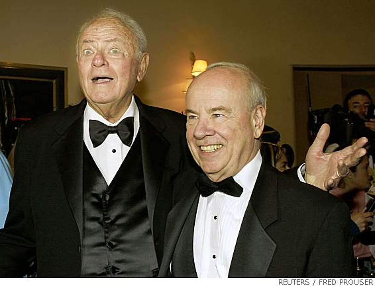 Actors Harvey Korman (L) and Tim Conway pose together as they arrive for the Academy of Television Arts & Sciences' 15th annual Hall of Fame ceremony in Beverly Hills in this November 6, 2002 file photo. Korman has died, according to media reports on May 29, 2008. REUTERS/Fred Prouser/Files (UNITED STATES)