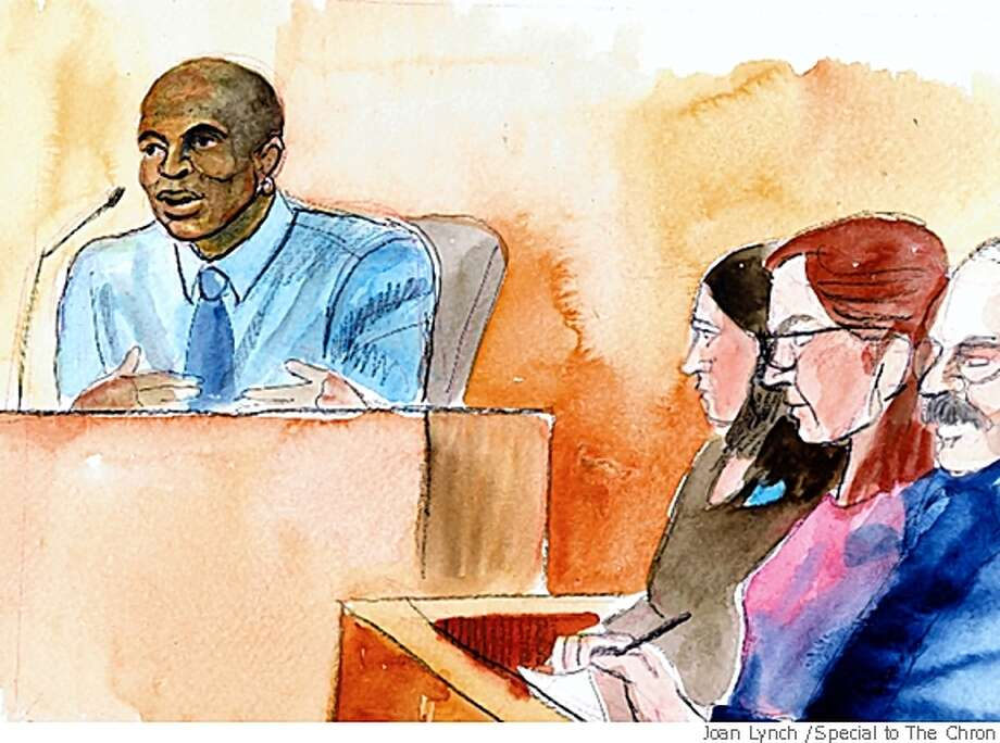 Runner Dennis Mitchell (depicted here at another athlete's trial) said sex with his wife drove up his testosterone. Photo: Joan Lynch /Special To The Chron