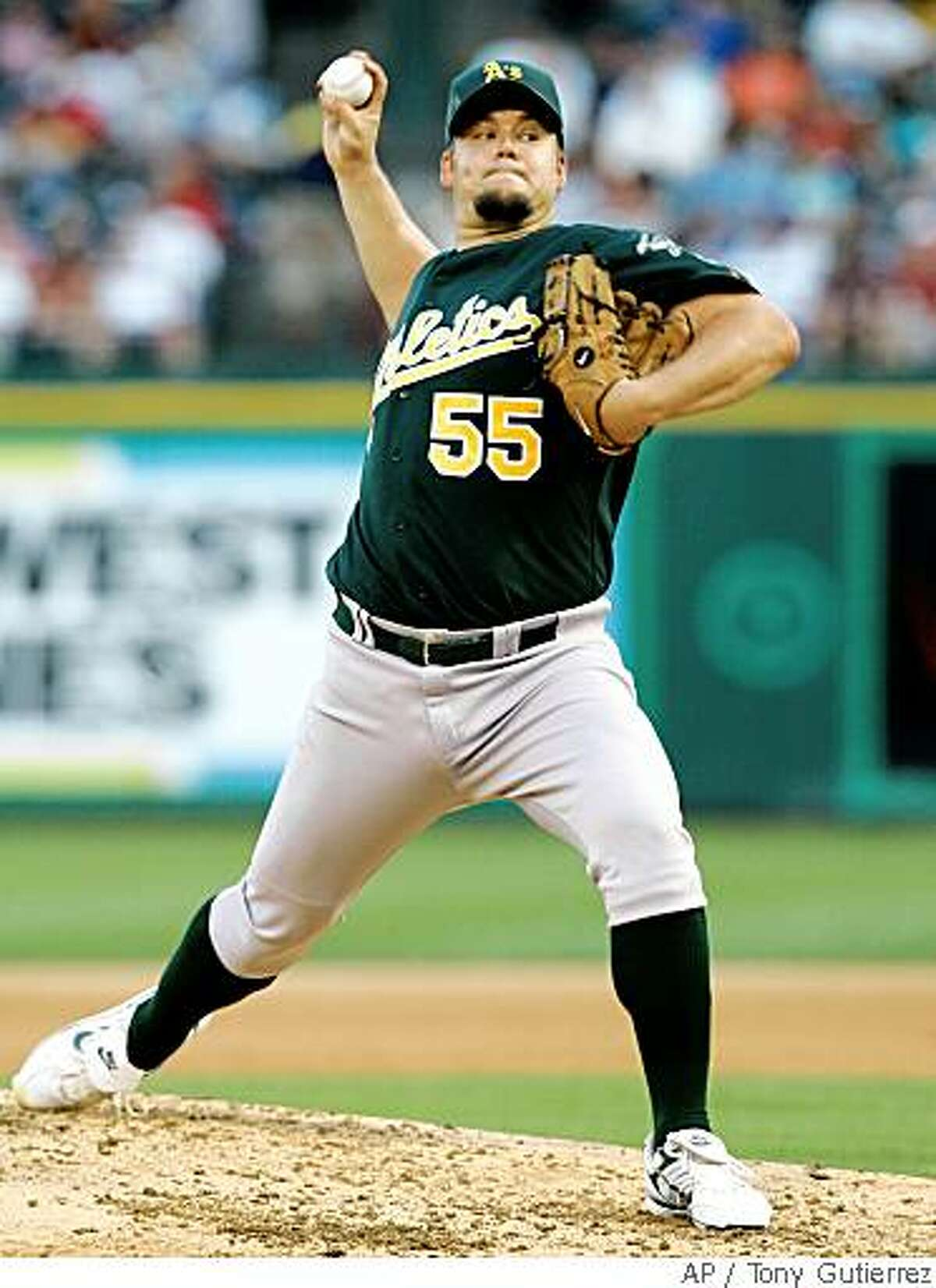 Oakland Athletics starting pitcher Joe Blanton (55) delivers to the Texas Rangers in the third inning of a Major League Baseball game, Saturday, May 31, 2008, in Arlington, Texas. (AP Photo/Tony Gutierrez)