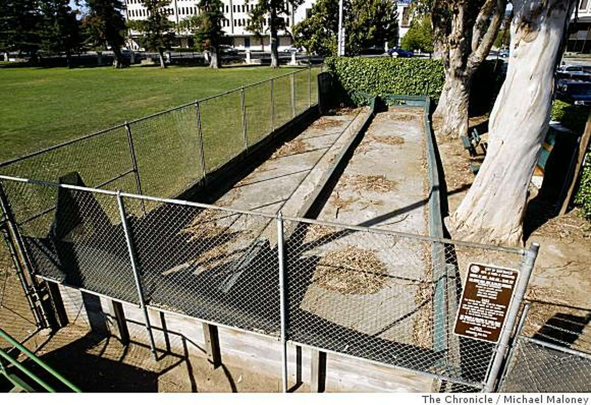 The horseshoe pit alongside the baseball diamond in Central Park in San Mateo, Calif., is fenced off and in need of repair. Photo by Michael Maloney / The Chronicle