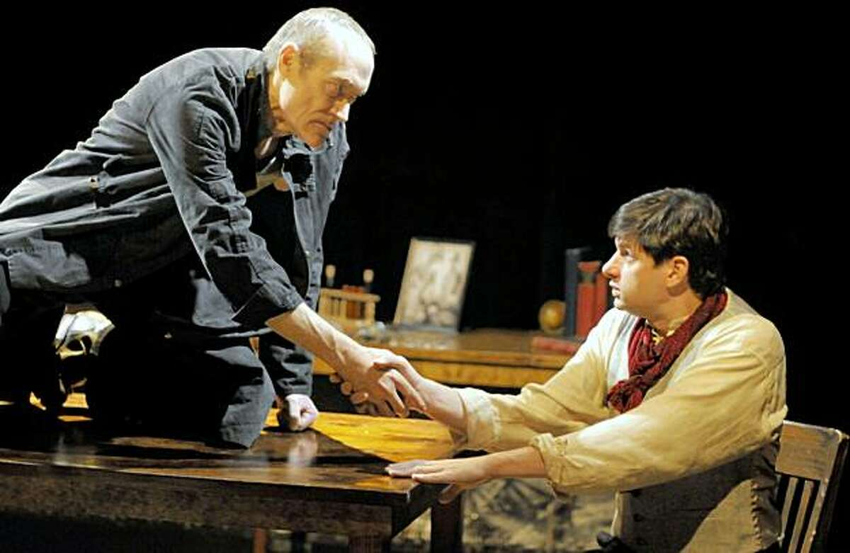 James Carpenter (left) plays the title role and Gabriel Marin is Victor Frankenstein in the world premiere of