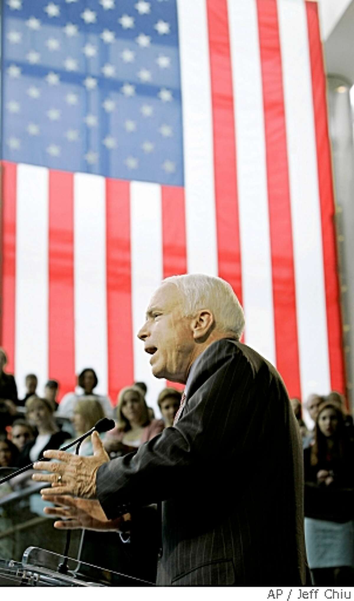 Republican presidential candidate, Sen. John McCain, R-Ariz., speaks at Denver University on Tuesday, May 27, 2008, in Denver, Colo. During his speech McCain faulted both Republicans and Democrats on their efforts to control the proliferation of nuclear weapons. (AP Photo/Jeff Chiu)