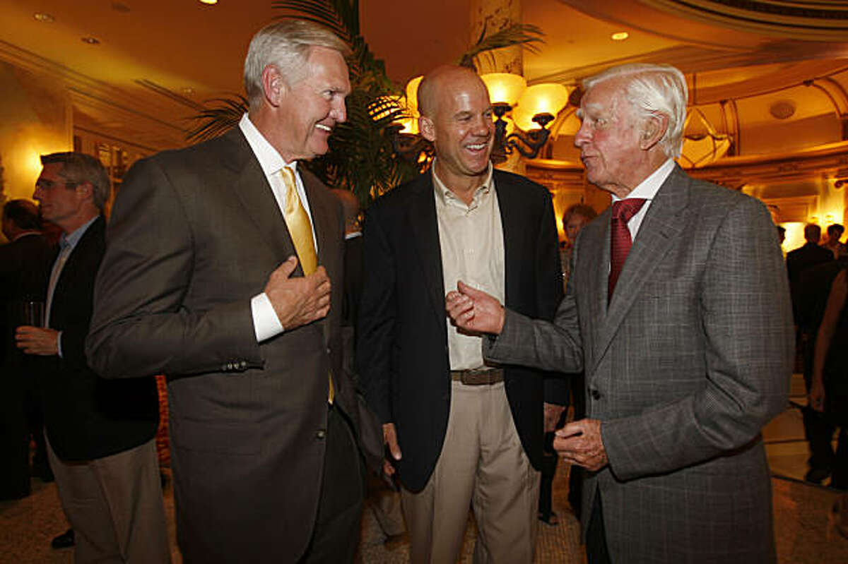 Former LA Laker Jerry West (left), executive director of the Northern Trust Open, David Pillsbury (middle), executive vice president at the PGA tour, with Sandy Tatum (right), former president of USGA who helped lead the drive restoring Harding golf course, at the Presidents Cup Celebration & Taste of Nations at the Fairmont hotel in San Francisco, Calif., on Thursday, October 8, 2009.