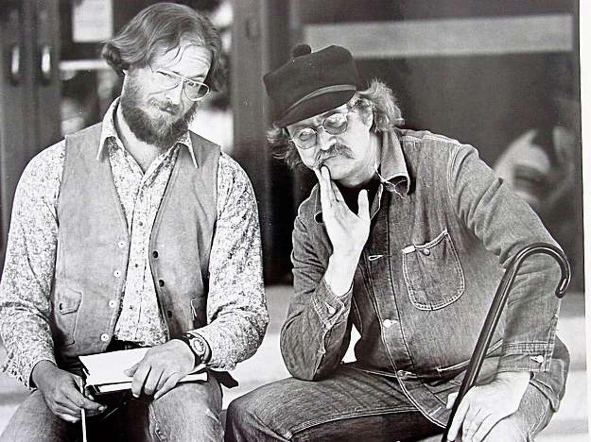Greg Keeler (left) and Richard Brautigan in 1982.