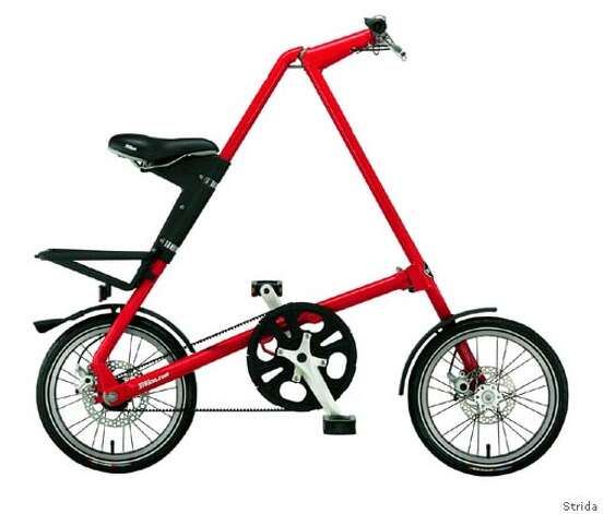 the lightweight Strida bicycle with a greaseless chain, and collapsible frame is the ideal commuters vehicle. this Eco-friendly bicycle is designed by Mark Sanders and sold through Areaware in New York city. Photo: Courtesy Strida