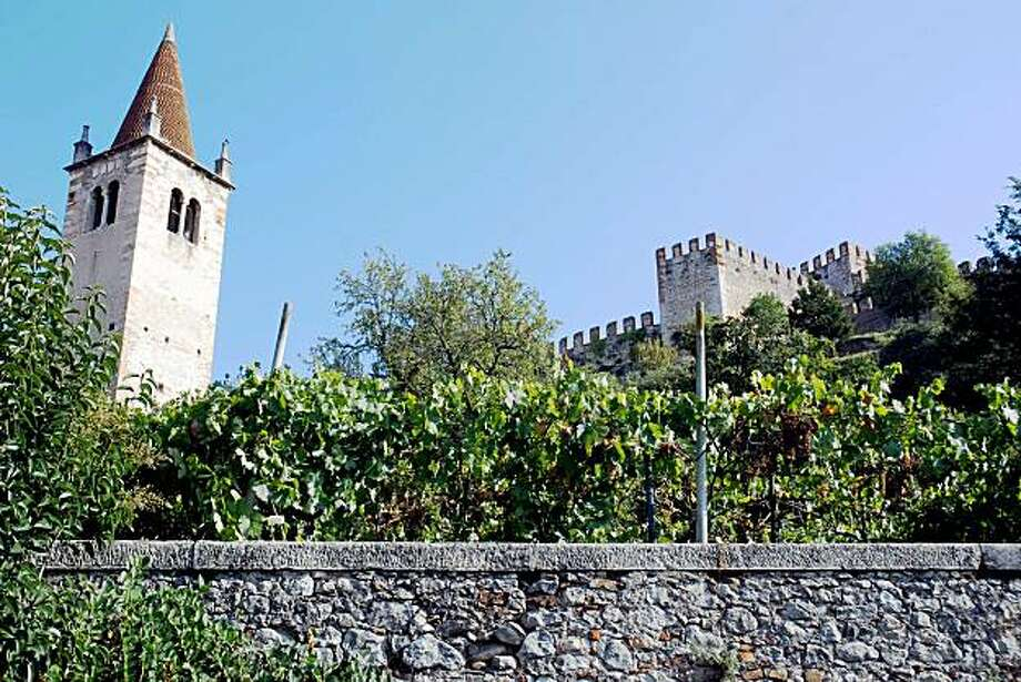 A vineyard is framed by the medieval castle of Soave, Northern Italy, on Sept. 14, 2007. The time-honored traditions of Italian wine making have been thrown out of rhythm by the earliest harvest on record in 70 years. Little autumn picking this year. In some wine regions, growers began the harvest grapes during the first 10 days of August. In Soave, renowned for its white wines, the harvest started a month early, Sept. 1 for the traditional wines made from a crush of Garganega grapes, and earlier for grapes to make bubbly Spumante. It has been a year of inversions: While the north basked in a July heat wave, the south suffered an unusual rainy season, meaning a northern boom of succulent early grapes has been offset by a bust of sorts in the south, where a deadly fungus spread through vineyards, cutting yields in wine-rich Sicily _ one of Italy's top four wine regions _ by 30 percent. (AP Photo/Martino Masotto) Photo: Martino Masotto, AP