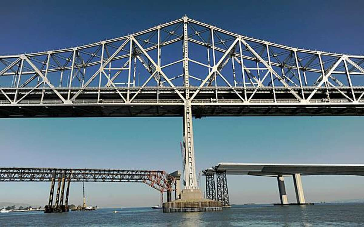 The Bay Bridge remains closed to traffic as emergency repairs continue on Friday, Oct. 30, 2009, in San Francisco.