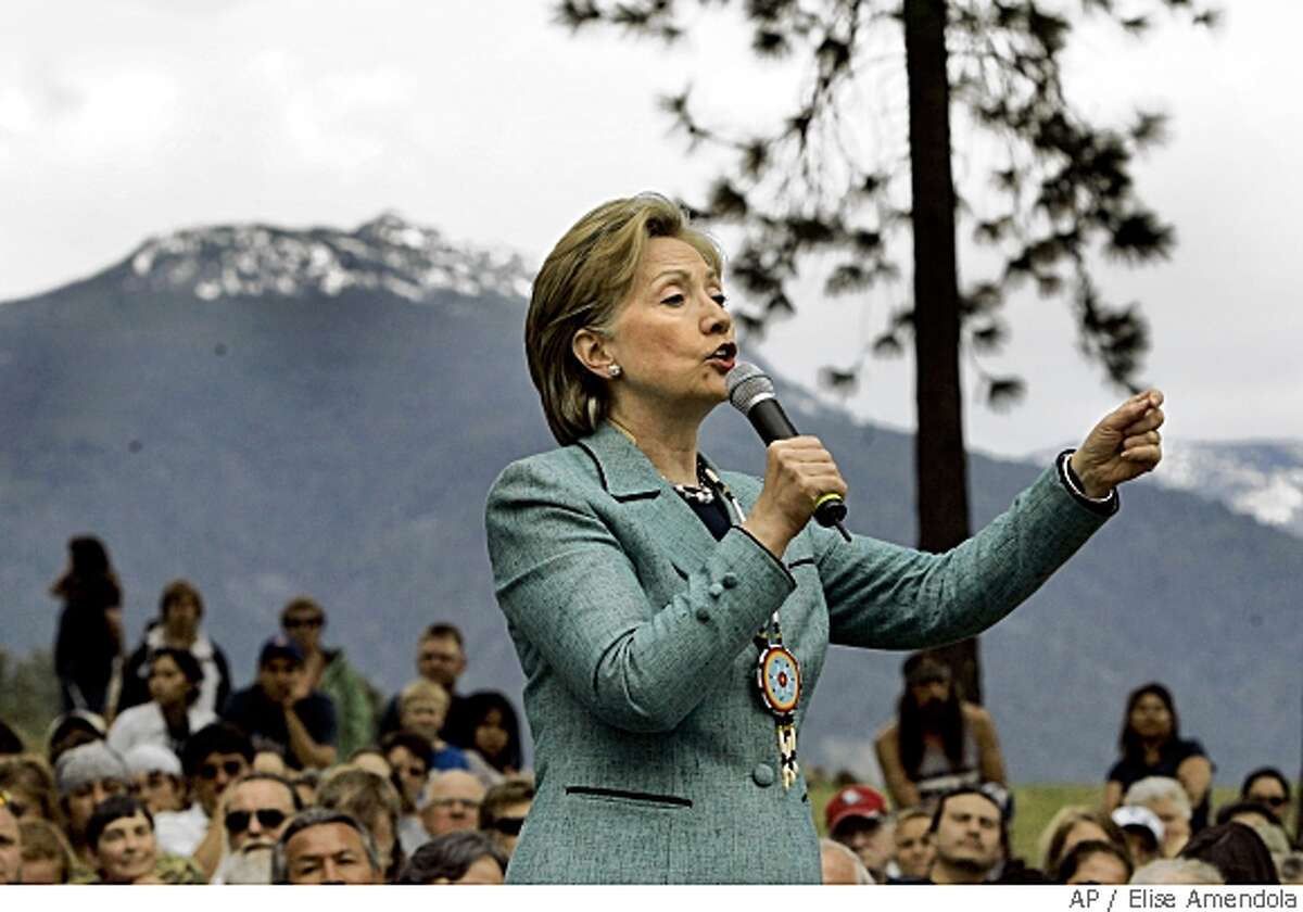 Democratic presidential hopeful Sen. Hillary Rodham Clinton, D-N.Y., speaks during a campaign event at Flathead Indian Reservation in Pablo, Mont., Tuesday, May 27, 2008. (AP Photo/Elise Amendola)