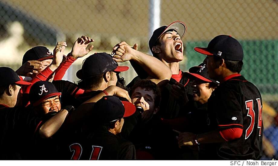 Arroyo players celebrate after beating Livermore 3-1 on Wednesday, May 28, 2008, in Livermore, Calif., to clinch the North Coast Section Class 3A semifinal. Photo by Noah Berger / Special to the Chronicle Photo: Noah Berger, SFC