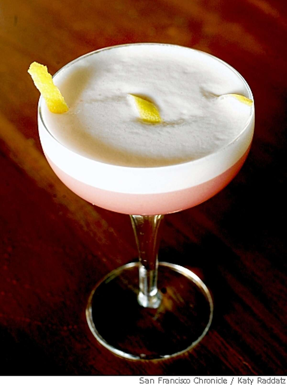 A drink called Clover Club, served at Flora, in Oakland, Calif. on Wednesday May 14, 2008.