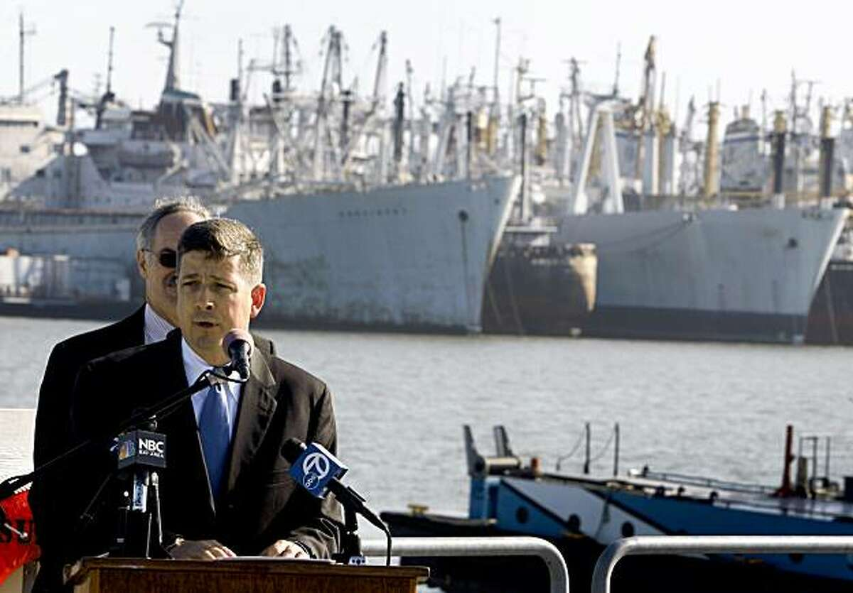 U.S. Transportation Deputy Secretary John Porcari announces in Benicia on Thursday that many of the vessels at the Suisun Bay Reserve Fleet will soon be cleaned up, dismantled or recycled.