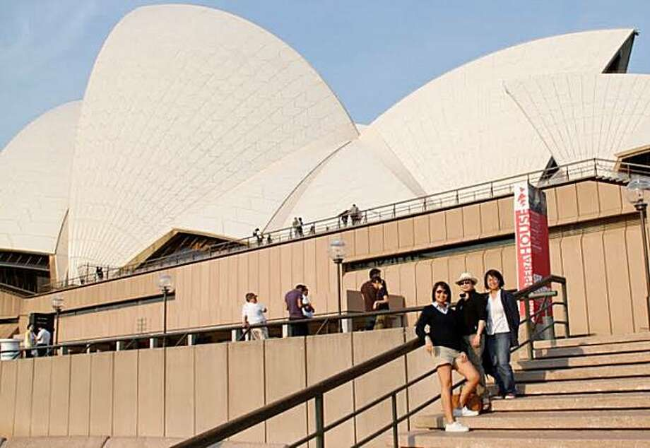 From left to right, Truc, Trang and Trinh Luu at the Sydney Opera House. Photo: Courtesy Of Truc Luu