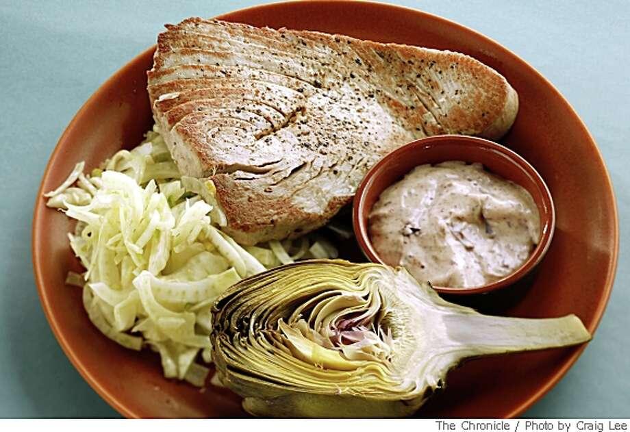 Tuna with fennel artichoke and kalamata mayo in San Francisco, Calif., on May 22, 2008. Food styled by Tara Duggan.Photo by Craig Lee / The San Francisco Chronicle Photo: Photo By Craig Lee, The Chronicle