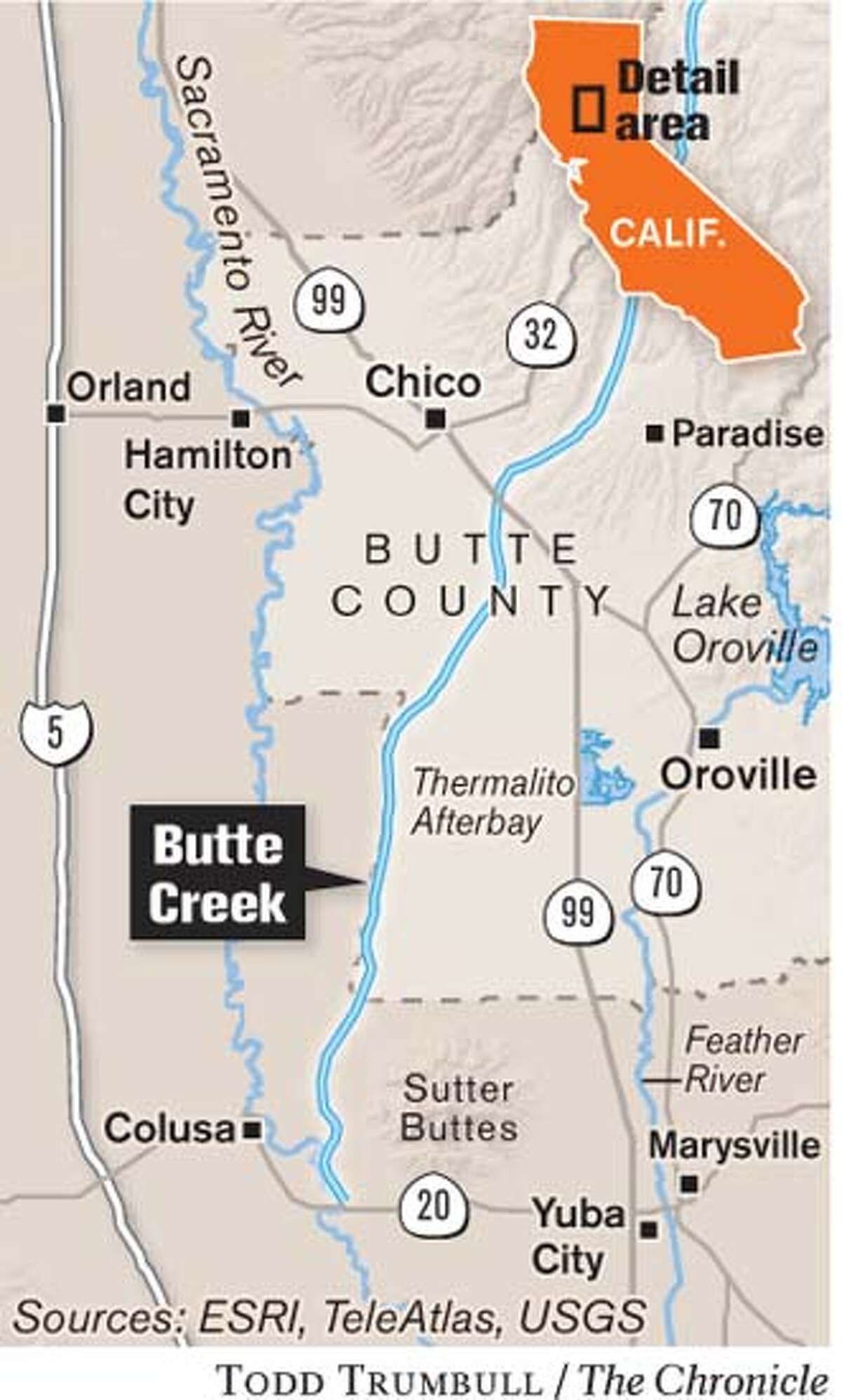 Butte Creek. Chronicle graphic by Todd Trumbull