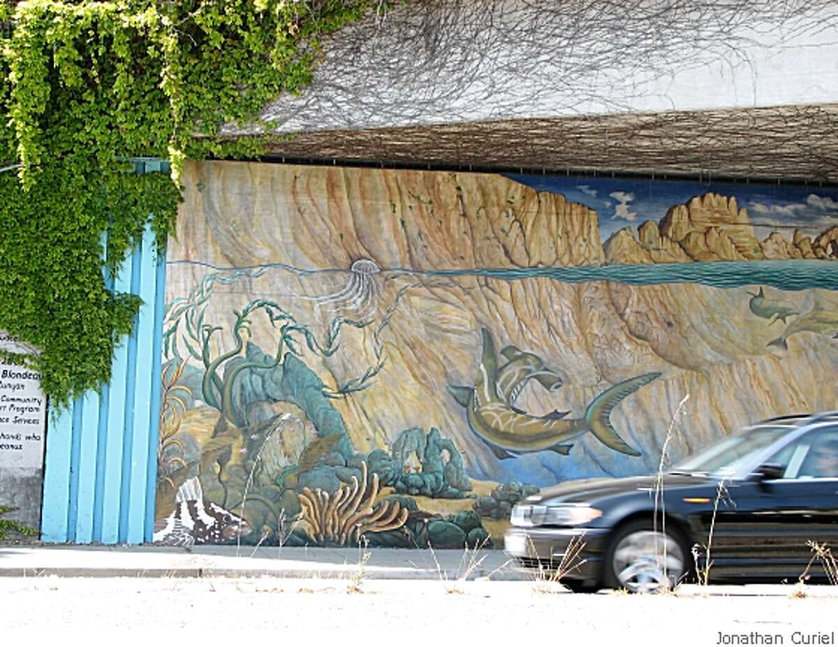 Ivy is creeping over this mural called