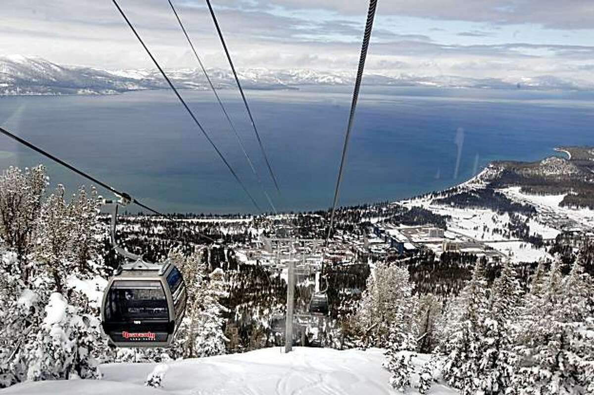 Lake Tahoe is seen from the seat of a Heavenly Resort ski lift on March 13, 2006 in Lake Tahoe, Calif.