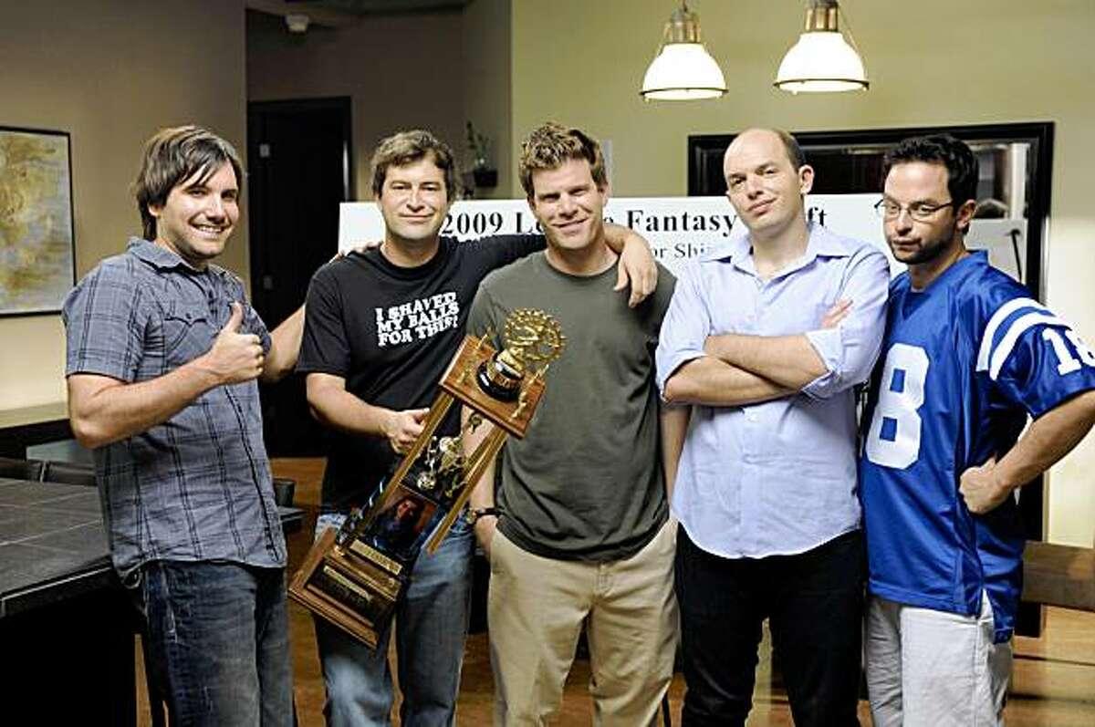 THE LEAGUE: L-R: Jon Lajoie, Mark Duplass, Stephen Rannazzisi, Paul Scheer and Nick Kroll. THE LEAGUE premieres on FX.