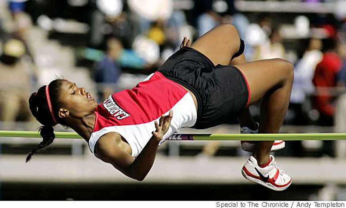 Adrienne Johnson of Carondelet during qualifies in the Girls High Jump during CIF Track and Field qualifying Friday, May 30, in Norwalk, Calif.