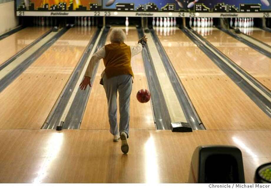 "99 year old Frances Catlett bowls each week as part of the team, ""Amazons"", in a league she belongs to with several friends in Alabany, Calif. Her team defeated the opponent three games to two on April 23, 2008. Photo by Michael Macor/ San Francisco Chronicle Photo: Michael Macor"