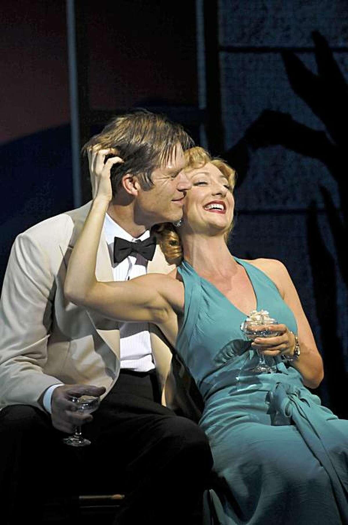 Carmen Cusack (right) as Nellie Forbush and Rod Gilfry as Emile de Becque in Rodgers and Hammerstein's