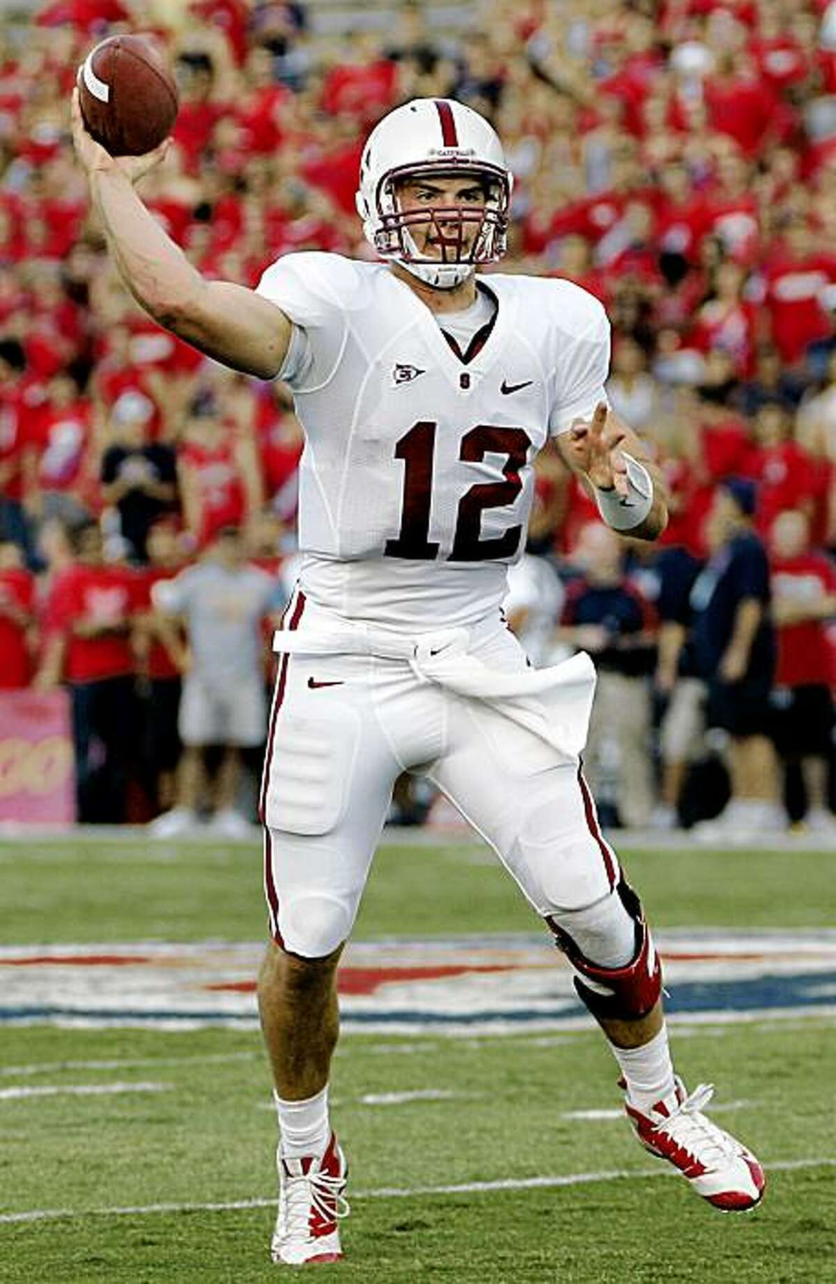 Stanford's quarterback Andrew Luck (12) throws the ball against Arizona in the first half of an NCAA college football game at Arizona Stadium in Tucson, Ariz., Saturday, Oct. 17, 2009. (AP Photo/Wily Low)
