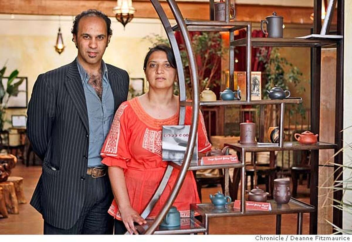 ###Live Caption:Ahmed Rahim, CEO, Numi tea company and his sister Anna Hartman, Public Relations manager, are photographed in the Numi tea shop on May 9, 2008, in Oakland, Calif. Photo by Deanne Fitzmaurice / San Francisco Chronicle###Caption History:Ahmed Rahim, CEO, Numi tea company and his sister Anna Hartman, Public Relations manager, are photographed in the Numi tea shop on May 9, 2008, in Oakland, Calif. Photo by Deanne Fitzmaurice / San Francisco Chronicle###Notes:###Special Instructions:MANDATORY CREDIT FOR PHOTOG AND SAN FRANCISCO CHRONICLE/NO SALES-MAGS OUT