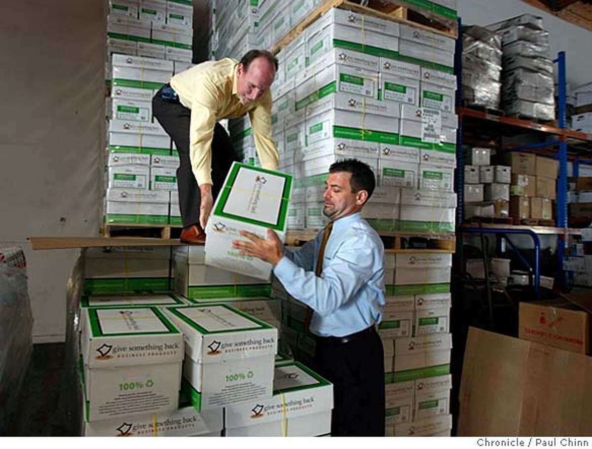 ###Live Caption:Mike Hannigan, left, and Sean Marx organizes boxes of computer paper at the Give Something Back warehouse in San Leandro, Calif., on Thursday, May 15, 2008. The office supply company is one of a growing number of businesses that are listed as B corporations that donate the profits to local non-profit charities. Photo by Paul Chinn / San Francisco Chronicle###Caption History:Mike Hannigan, left, and Sean Marx organizes boxes of computer paper at the Give Something Back warehouse in San Leandro, Calif., on Thursday, May 15, 2008. The office supply company is one of a growing number of businesses that are listed as B corporations that donate the profits to local non-profit charities. Photo by Paul Chinn / San Francisco Chronicle###Notes:Mike Hannigan, Sean Marx###Special Instructions:MANDATORY CREDIT FOR PHOTOGRAPHER AND S.F. CHRONICLE/NO SALES - MAGS OUT