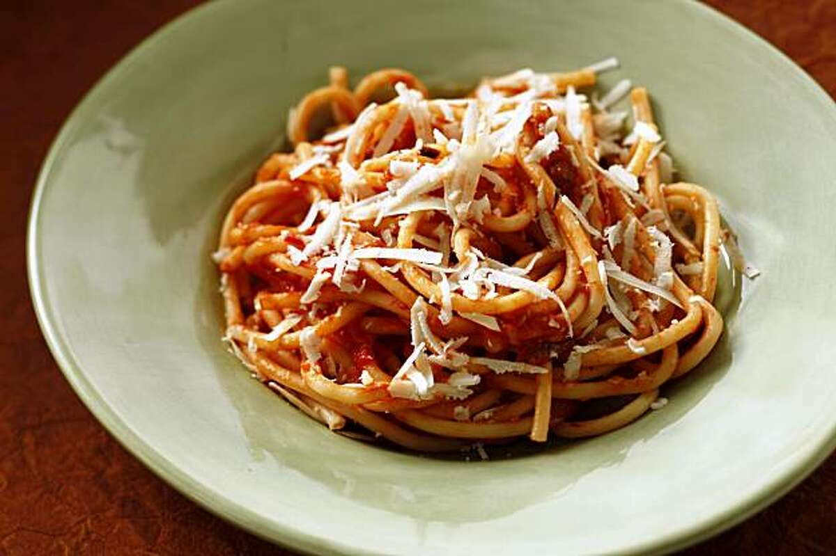 Pasta with Bacon, Onion and Fresh Tomato Sauce in San Francisco, Calif., on October 14, 2009. Food styled by Rose Amoroso.