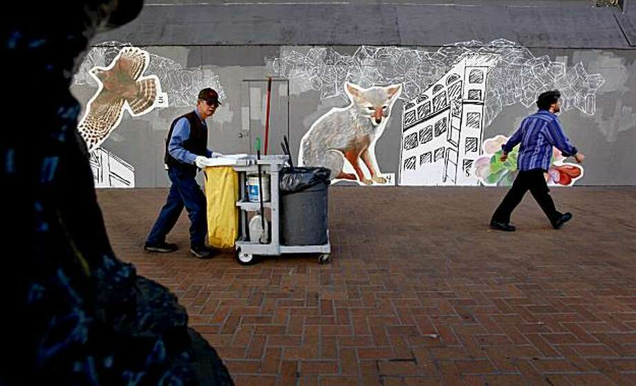 "A mural by Helen Bayly and Leanne Miller, entitled ""Find Yourself in Natural HIstory"" at 949 Market St., is part of the ""Art in Storefronts"" project, sponsored by the San Francisco Arts Commission in San Francisco, Calif. on Friday October 23, 2009. Photo: Michael Macor, The Chronicle"