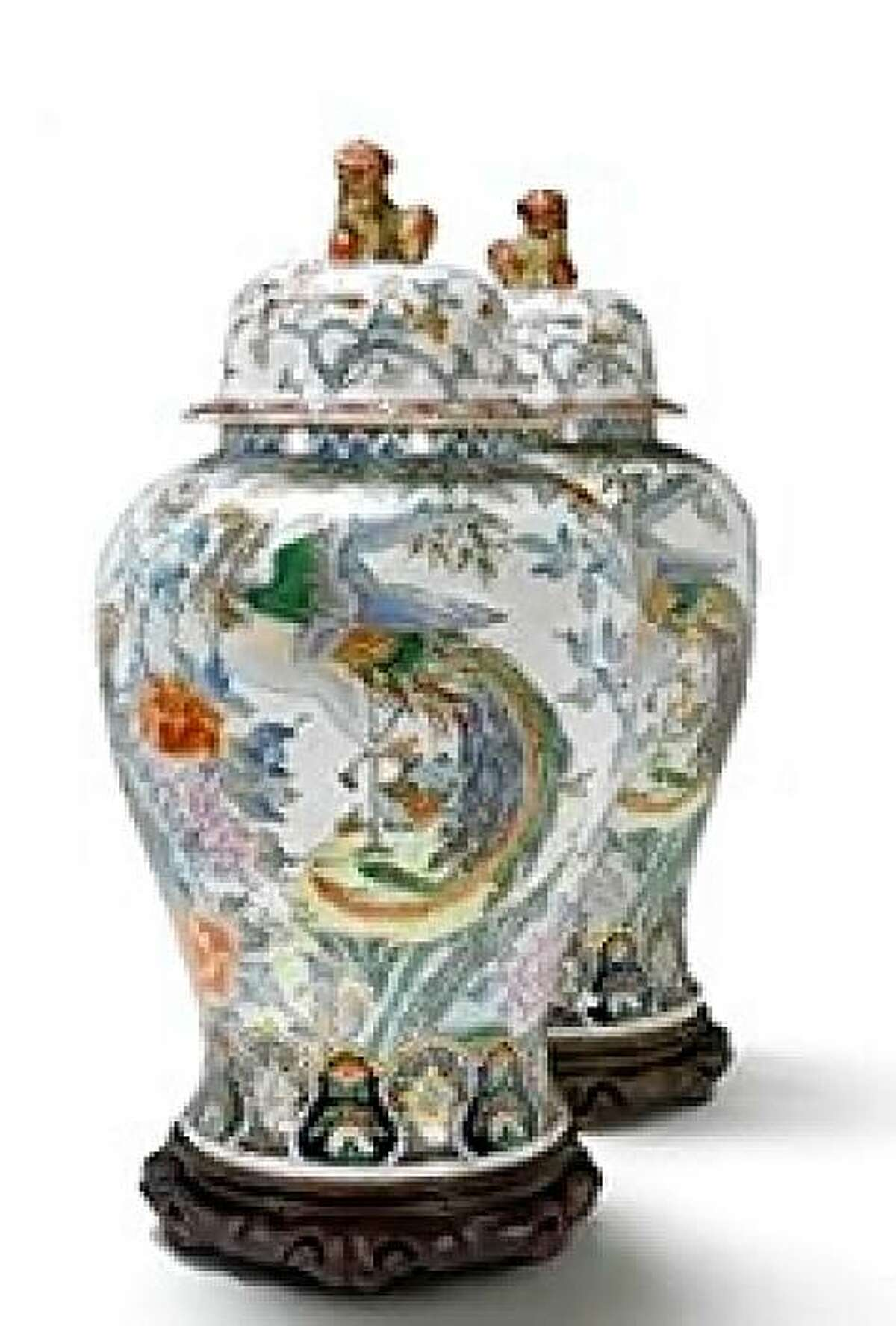 From the estate of Jessica McClintock, a pair of Chinese ginger jars, estimated at $600 to $800 in value, up for auction on Oct. 18, 2009 at Butterfields & Bonhams in San Francisco.