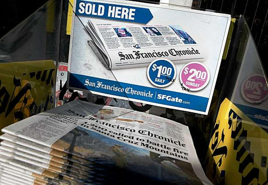Copies of the San Francisco Chronicle are displayed at a newsstand Monday in San Francisco. A report by the Audit Bureau of Circulations reveals that the average daily circulation of U.S. newspapers fell 10.6 percent in the six month period between April-September compared to one year ago. The San Francisco Chronicle had the largest decline with a drop of 25.8 percent to 251,782. Photo: Justin Sullivan, Getty Images