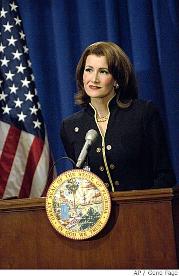 "In this image released by HBO, Laura Dern portrays Florida Secretary of State Katherine Harris in a scene from the docudrama ""Recount,"" a behind the scenes account of the 2000 presidential election scandal premiering Sunday, May 25 at 9 p.m. EDT. (AP Photo/HBO, Gene Page) ** NO SALES ** Photo: Gene Page, AP"