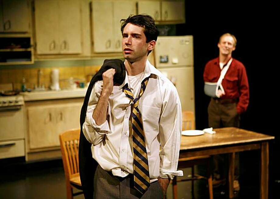 """Albert (Andrew Pastides, left) prepares to leave home and his dad Leo (Rod Gnapp) in John Kolvenbach's """"Goldfish"""" at Magic Theatre Goldfish at Magic Theatre. Left to right: Andrew Pastides (Albert), Rod Gnapp (Leo).Ê Photo by Jennifer Reiley. Photo: Jennifer Reiley"""