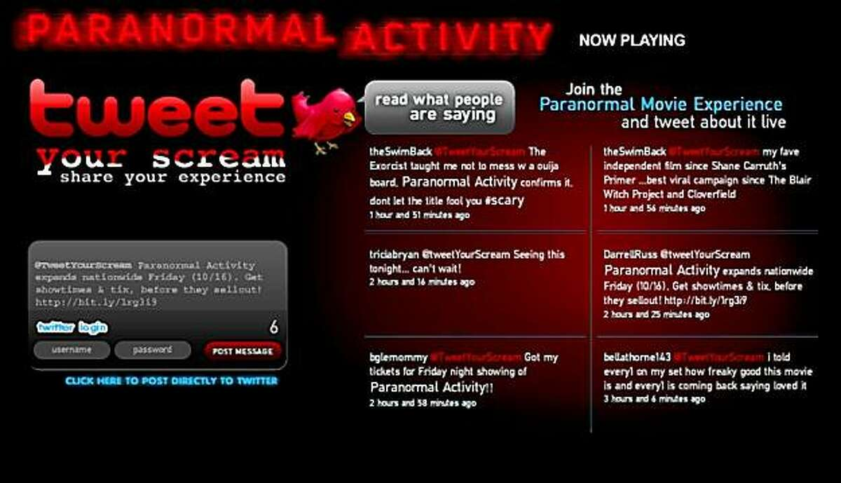 A screen grab taken on October 14, 2009 shows a page from the Web site for the movie