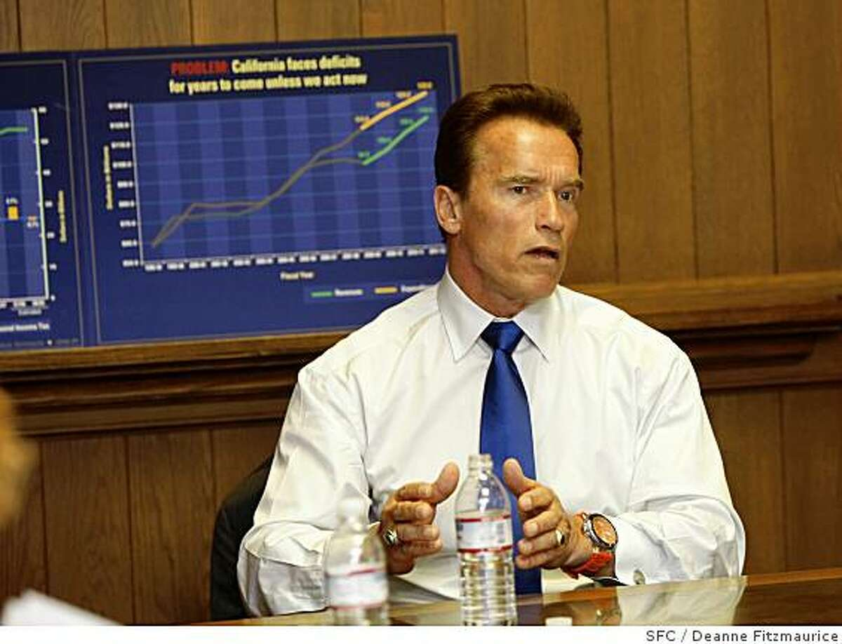 California governor Arnold Schwarzenegger came to the San Francisco Chronicle to speak with the editorial board. San Francisco, Calif. on May 16, 2008.Photo by Deanne Fitzmaurice / San Francisco Chronicle