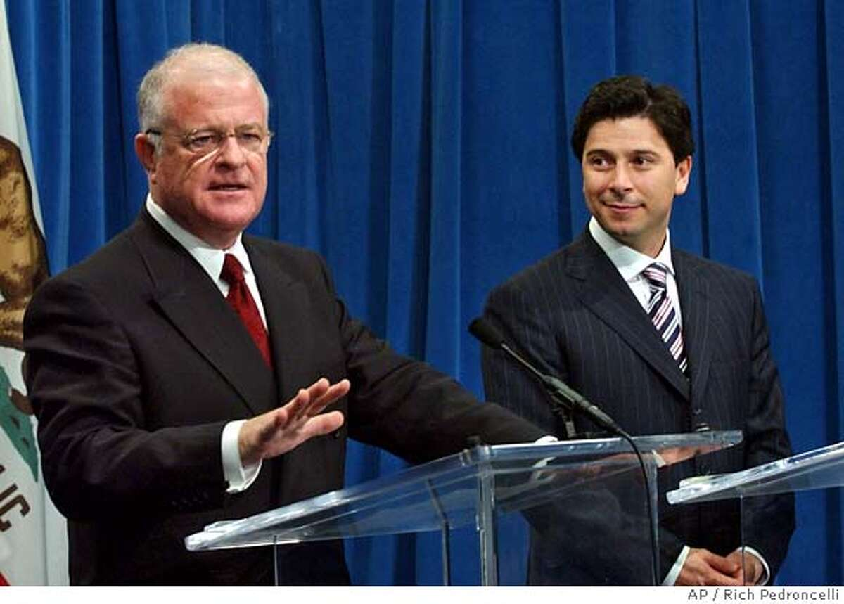 State Sen. President Pro Tem Don Perata, D-Oakland, left, answers a question during a news conference held with Assembly Speaker Fabian Nunez, D-Los Angeles, right, at the Capitol in Sacramento, Calif., Monday, Dec. 6, 2004. The two legislative leaders discussed their plans for the upcoming session in which they will deal with issues ranging from the budget deficit to homeowners insurance.(AP Photo/Rich Pedroncelli) Ran on: 12-16-2004 Federal agents remove desktop computers and unmarked bags of evidence from Nick Peratas home (left) in Oakland. Ran on: 12-16-2004 Federal agents remove evidence from Nick Peratas home (left) in Oakland. All told, during their five-hour search investigators seized two computers, five brown grocery bags filled with evidence and a cardboard box filled with papers. Ran on: 01-09-2005 Assembly Speaker Fabian Nu�ez also forgot a few high-profile introductions. Ran on: 01-09-2005 Assembly Speaker Fabian Nu�ez also forgot a few high-profile introductions. Ran on: 04-14-2005 Don Perata supported Bay Area card clubs efforts to stop an Indian casino in San Pablo. Ran on: 04-14-2005 Don Perata supported Bay Area card clubs efforts to stop an Indian casino in San Pablo. Ran on: 04-14-2005 Ran on: 04-27-2005 State Senate Leader Don Perata, D-Oakland, said the state does not invest enough in education, citing a study by the magazine Education Week that shows California ranking 44th in per-pupil spending. Ran on: 04-27-2005 State Senate Leader Don Perata, D-Oakland, proposed a tax increase, declaring, There, I said it. He said the increase is needed because state does not invest enough in education, citing a study by Education Week magazine that shows California ranking 44th in per-pupil spending. Ran on: 05-01-2005 State Sen. Don Perata Ran on:...