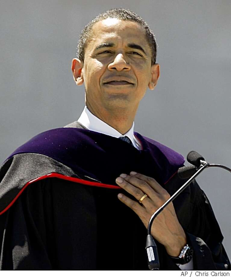 Democratic presidential hopeful, Sen. Barack Obama, D-Ill., speaks after receiving a honorary degree during the commencement ceremony at Wesleyan University in Middletown, Conn., Sunday, May 25, 2008.  (AP Photo/Chris Carlson) Photo: Chris Carlson, AP