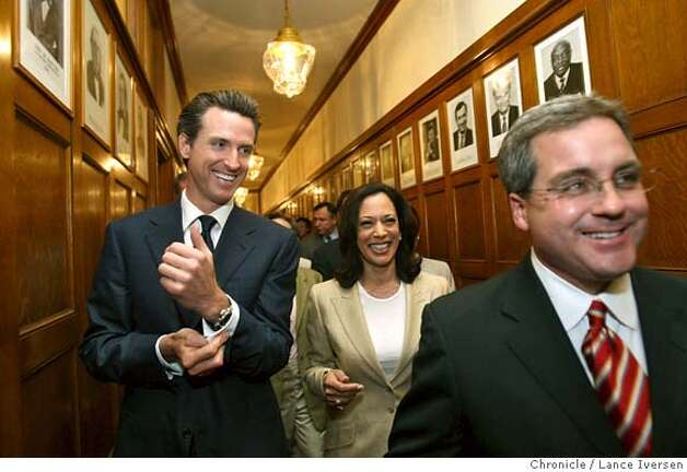 "San Francisco Mayor Gavin Newsom, Kamala Harris and Dennis Herrera walk out of the mayors office inrout to a press conferance in the City Hall rotunda after hearing the California Supreme Court desistion giving Gays and lesbians constitutional right to marry in California. Wednesday May 15, 2008. In a 4-3 decision, the justices said the state's ban on same-sex marriage violates the ""fundamental constitutional right to form a family relationship. Photographed in San Francisco, Calif, By Lance Iversen / San Francisco Chronicle. Photo: LANCE IVERSEN"