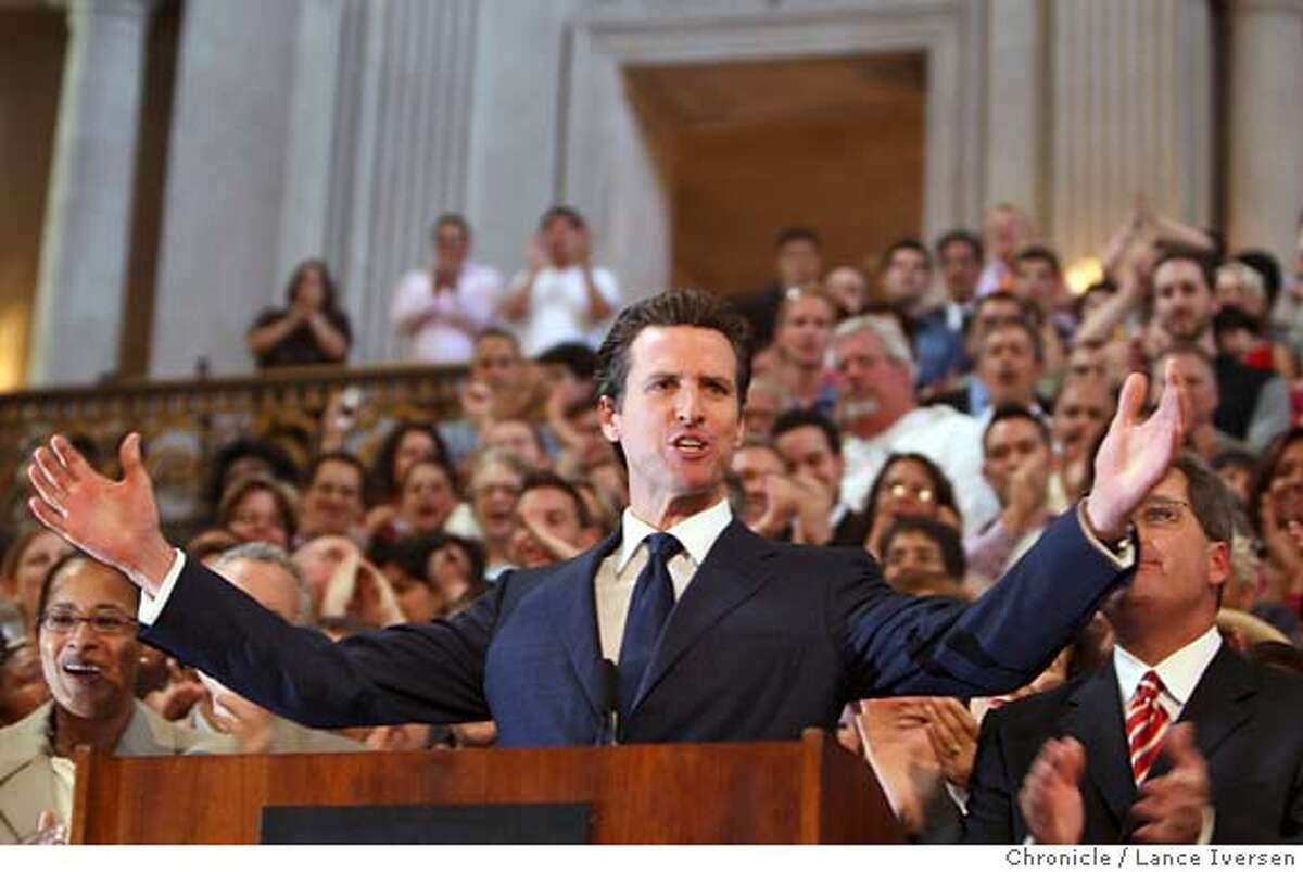 San Francisco Mayor Gavin Newsom talks about the California Supreme Court desistion during a press conferance in the City Hall rotunda Wednesday May 15, 2008. The California Supreme Court desistion giving Gays and lesbians constitutional right to marry in California was the buzz at City Hall all day. The state Supreme Court said Wednesday May 15, 2008 in a historic ruling that could be repudiated by the voters in November. In a 4-3 decision, the justices said the state's ban on same-sex marriage violates the