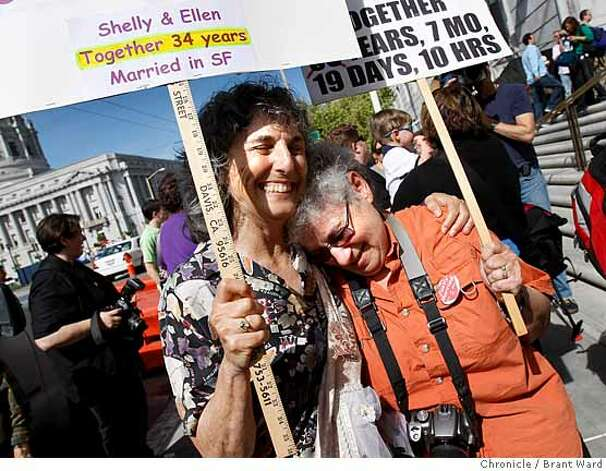 Ellen Pontac, left, and Shelly Bailes, who have been together for 34 years celebrated the Supreme Court decision in City Hall Plaza in San Francisco, Calif. The California State Supreme Court voted 4-3 to allow same sex marriages and a crowd gathered in front of the state building in San Francisco, Calif. celebrated Thursday, May 15, 2008. Photo by Brant Ward / The Chronicle Photo: Brant Ward