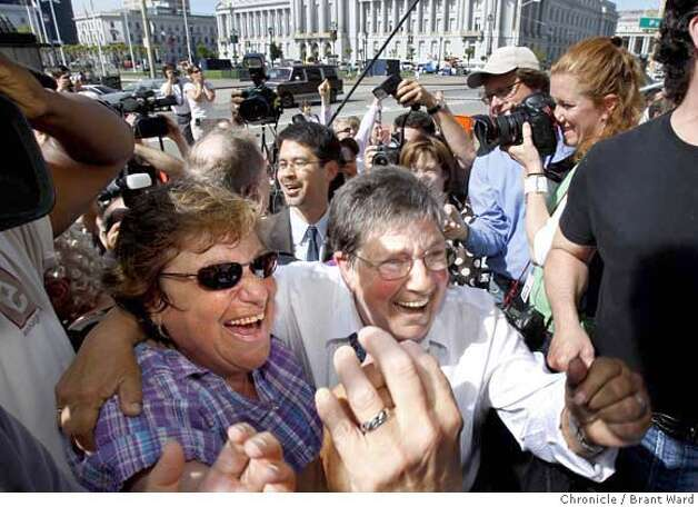 Myra Beals, left and Ida Matson, in white blouse, celebrated the decision on same sex marriages Thursday. The California State Supreme Court voted 4-3 to allow same sex marriages and a crowd gathered in front of the state building in San Francisco, Calif. celebrated Thursday, May 15, 2008. Photo by Brant Ward / The Chronicle Photo: Brant Ward