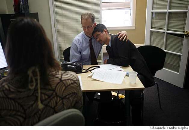 During a teleconference at the NCLR, plaintiffs in favor of same-sex marriage, John Lewis and Stuart Gaffney try to collect their emotions after a ruling announcing that it is unconstitutional to disallow same-sex marriages in the state of California was made on Thursday May 15, 2008 in San Francisco, Calif. Photo by Mike Kepka/San Francisco Chronicle Photo: Mike Kepka