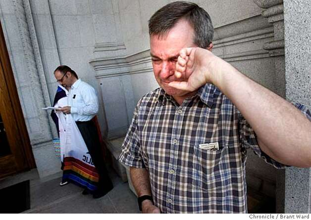 Lee Moulton, a gay man with his partner in Palm Springs, cried with joy as he learned the decision of the Supreme Court.The California State Supreme Court voted 4-3 to allow same sex marriages and a crowd gathered in front of the state building in San Francisco, Calif. celebrated Thursday, May 15, 2008. Photo by Brant Ward / The Chronicle Photo: Brant Ward