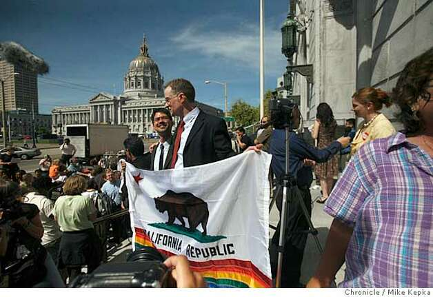 Plaintiffs in favor of same-sex marriage, Stuart Gaffney and John Lewis celebrate on the steps the California Supreme court after a ruling announcing that it is unconstitutional to disallow same-sex marriages in the state of California on Thursday May 15, 2008 in San Francisco, Calif.  Photo by Mike Kepka/San Francisco Chronicle Photo: Mike Kepka