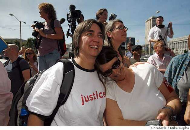 Supporters of same-sex marriage, Luan Strauss and Emily Doskow, of Oakland, react on the step the California Supreme court after a ruling announcing that it is unconstitutional to disallow same-sex marriages in the state of California on Thursday May 15, 2008 in San Francisco, Calif.  Photo by Mike Kepka/San Francisco Chronicle Photo: Mike Kepka