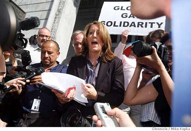 Kate Kendall, executive director of the NCLR, reads a ruling on the step the California Supreme court announcing that it is unconstitutional to disallow same-sex marriages in the state of California on Thursday May 15, 2008 in San Francisco, Calif. Photo by Mike Kepka/San Francisco Chronicle Photo: Mike Kepka
