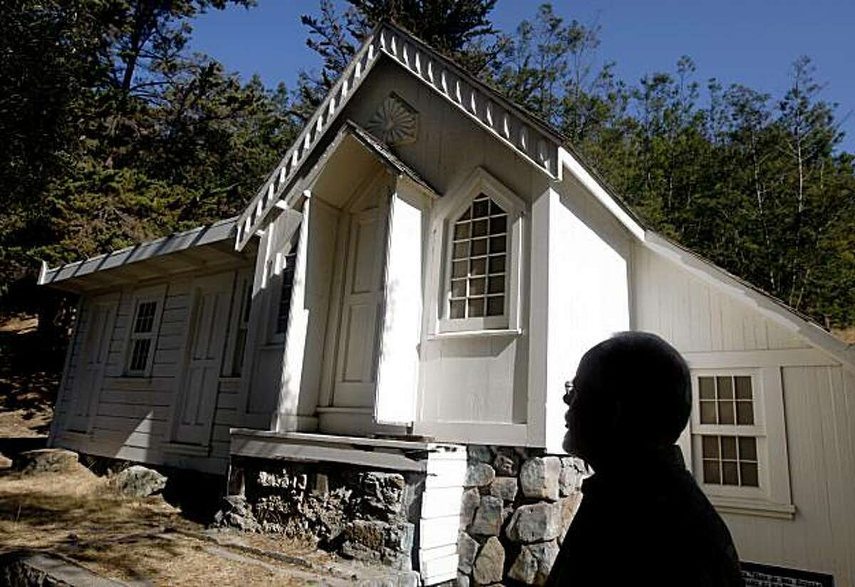 Dale Risden visits the Abbey, where poet Joaquin Miller lived, at the city park named in his honor, Joaquin Miller Park, in Oakland, Calif., on Friday, Oct. 9, 2009. Risden is leading the effort to restore the home and several monuments built by Miller in the early 1900's.
